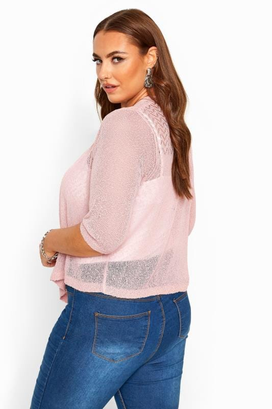 Pink Waterfall Fine Knit Shrug