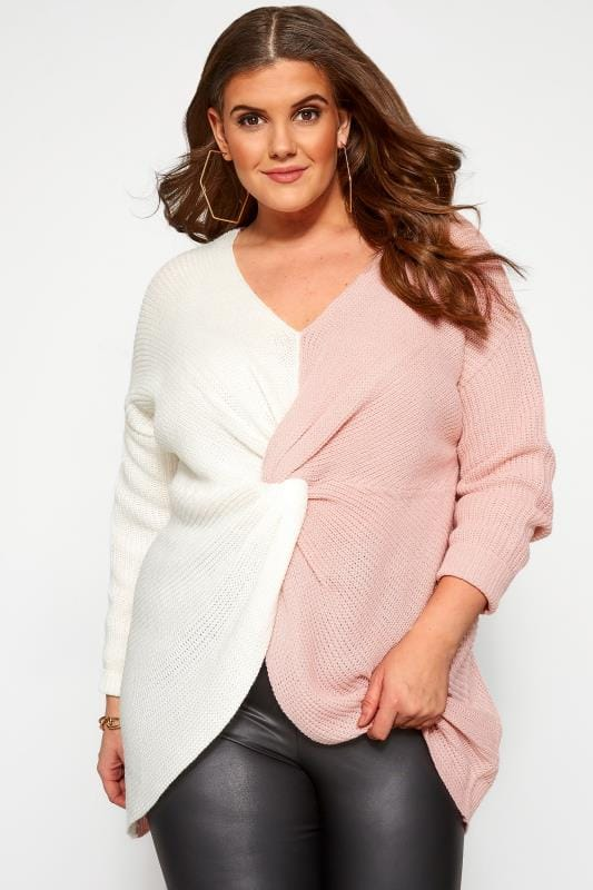Plus Size Sweaters Pink & White Twist Front Jumper