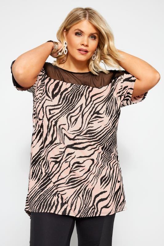 Plus Size Jersey Tops Pink Zebra Print Mesh Top