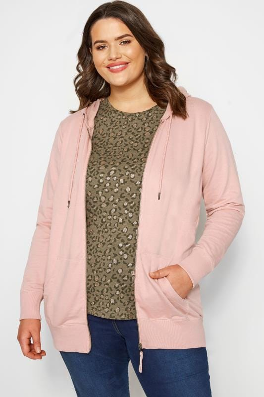 Plus Size Hoodies & Jackets Pink Zip Through Hoodie