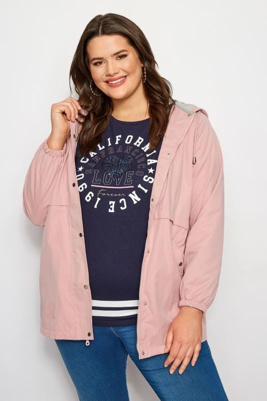 Plus Size Jackets Pink Zip Through Jacket