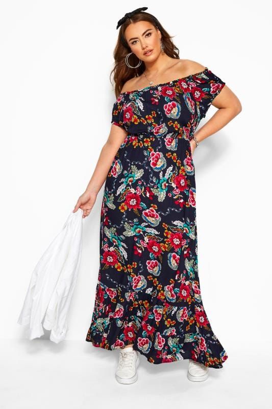 Plus Size Maxi Dresses Navy Floral Gypsy Maxi Dress
