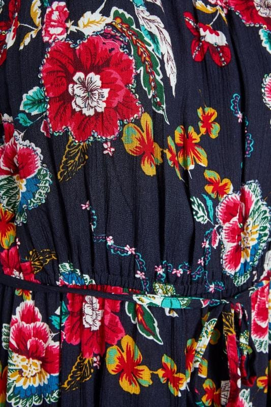 Navy Floral Gypsy Maxi Dress