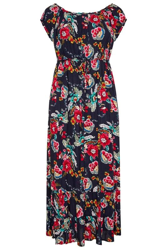 Navy Floral Gypsy Maxi Dress