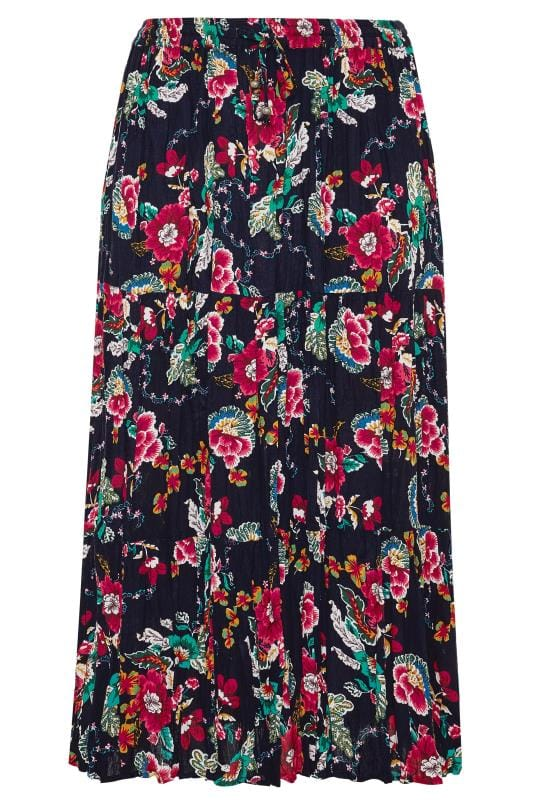 Navy Floral Crinkle Tiered Maxi Skirt