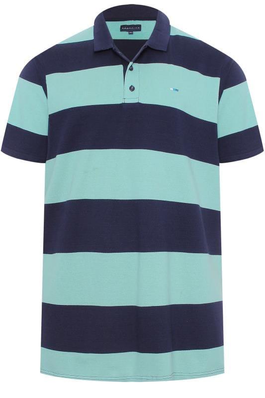 Polo Shirts BadRhino Navy & Mint Green Block Striped Polo Shirt
