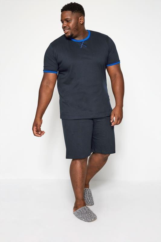 BadRhino Navy Jersey Pyjama Top & Shorts Set