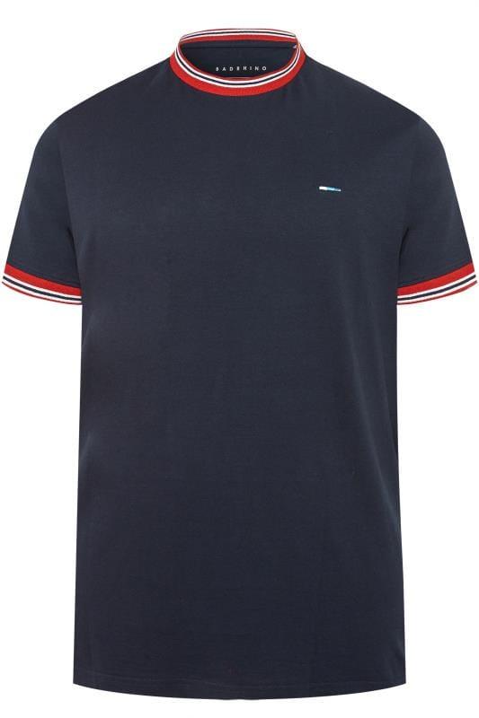 BadRhino Navy Striped Ringer T-Shirt
