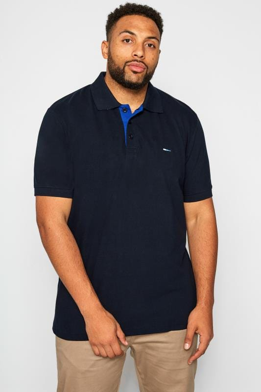 Große Größen Polo Shirts BadRhino Dark Navy Premium Stretch Polo Shirt