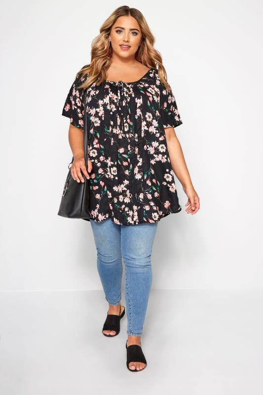 Black Floral Pleated Gypsy Top