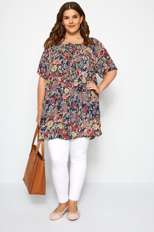 Navy Floral Pleated Gypsy Top
