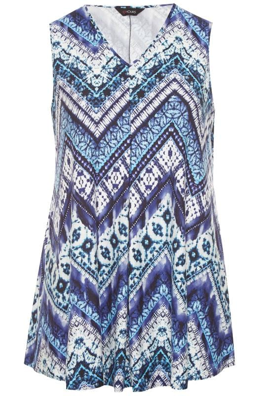 Большие размеры | Красивые трикотажные кофты Blue Tie Dye Swing Vest Top