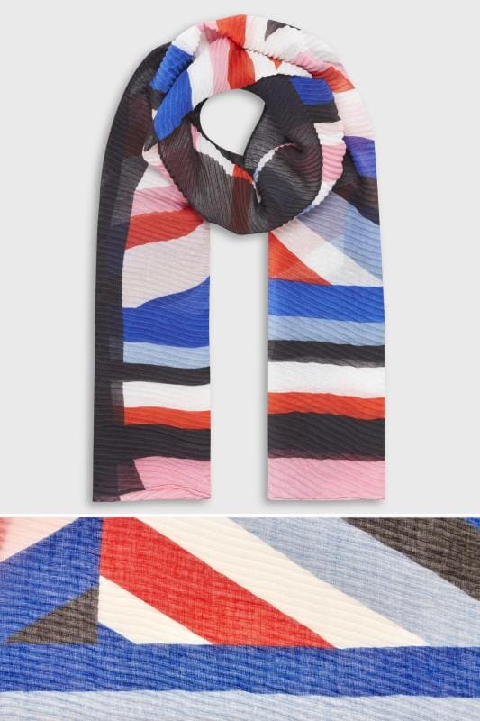 Black Multicoloured Stripe Crinkle Scarf