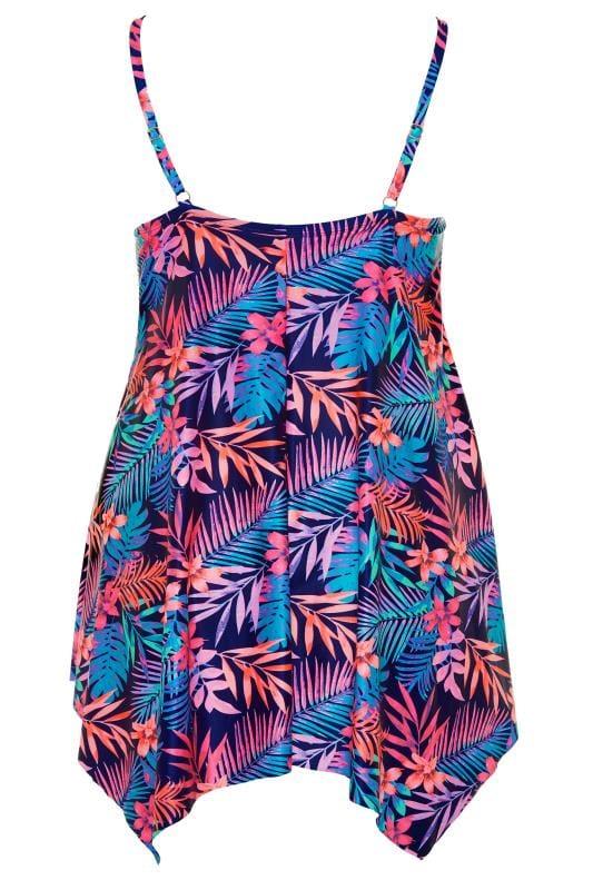 Blue & Pink Tropical Floral Double Lattice Swim Dress
