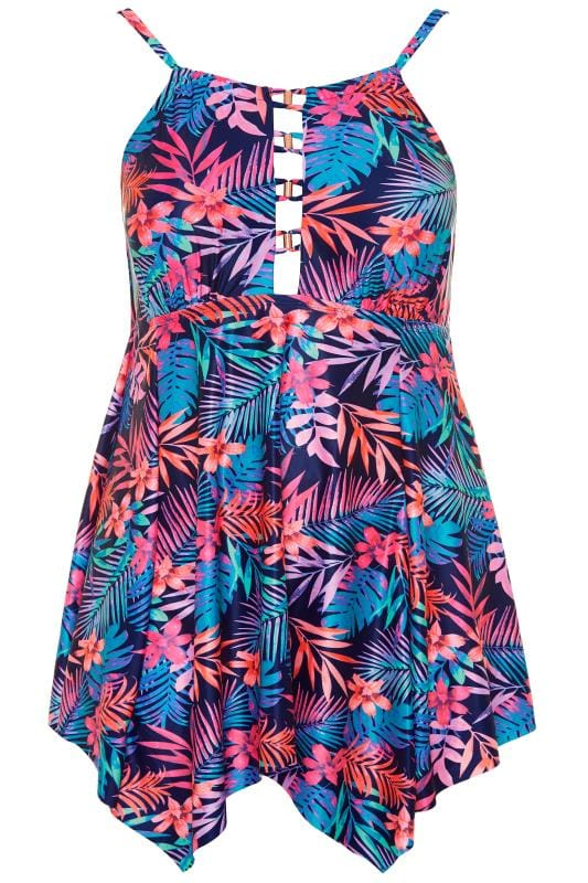 Blumen-Badekleid mit goldfarbenen Verzierungen - Blau/Rosa