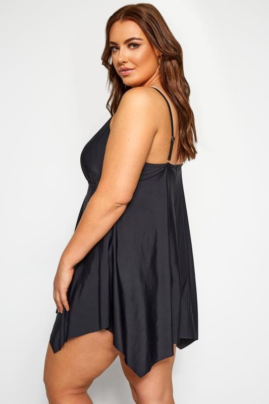 Black Double Lattice Swim Dress
