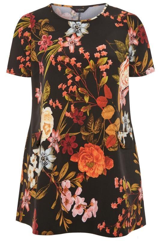Большие размеры | Деловые и офисные платья Black Floral Print Mock Pocket Tunic