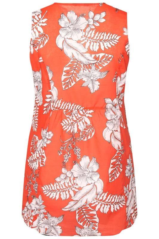 Orange Tropical Floral Pocket Blouse