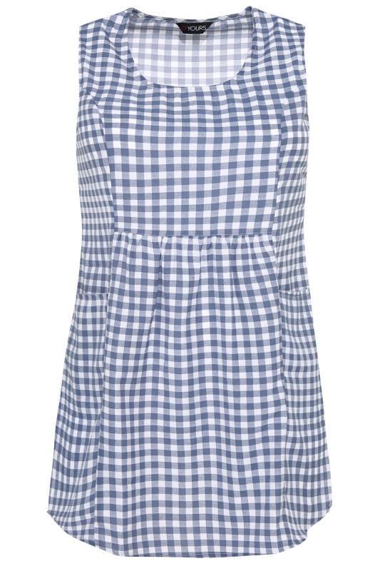 Blue & White Gingham Pocket Blouse