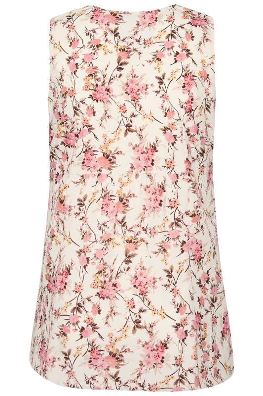 Cream & Pink Floral Sleeveless Pocket Blouse