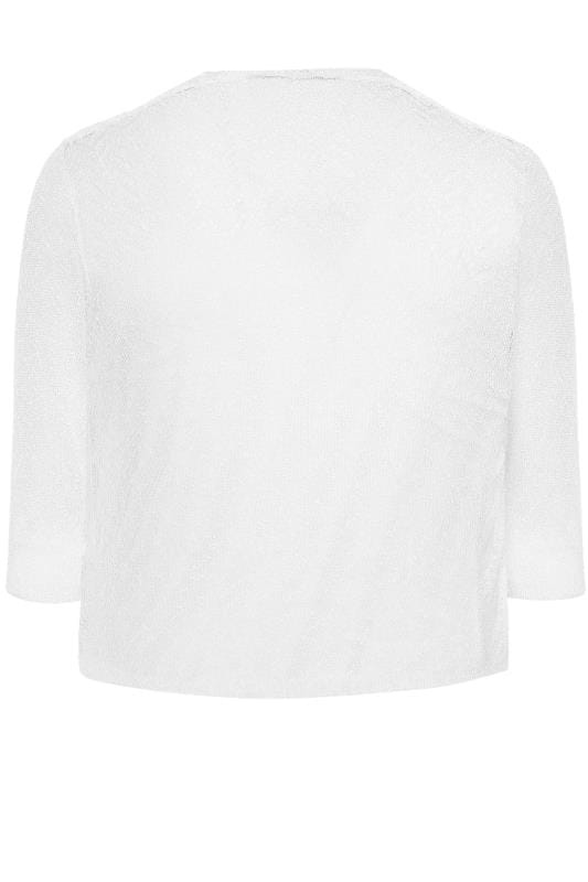 Feinstrick-Jacke mit Wasserfall-Front - Weiß