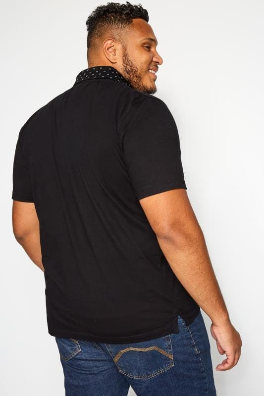 BadRhino Polohemd mit gemustertem Kragen - Schwarz