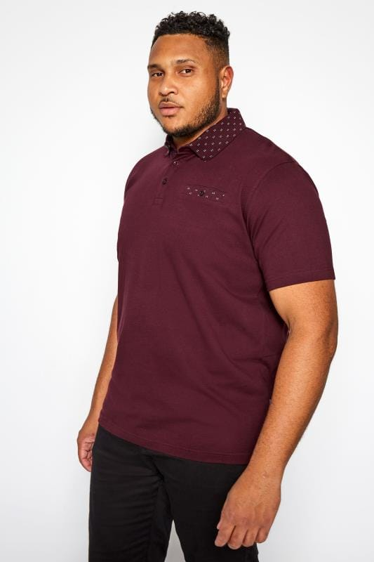 BadRhino Burgundy Printed Collar Polo Shirt