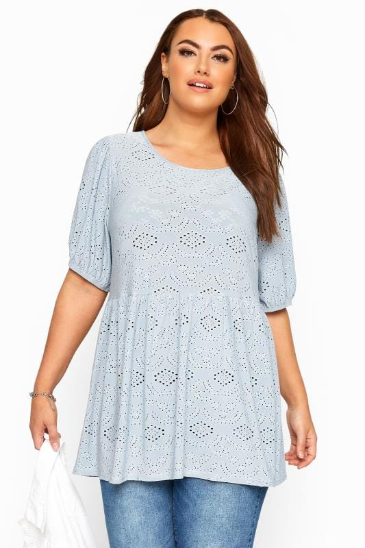 Plus Size Day Tops Blue Embroidered Puff Sleeve Smock Top