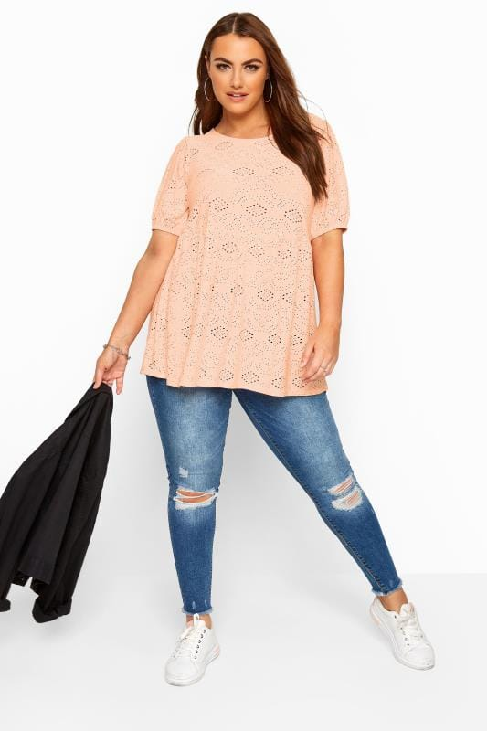 Blush Pink Embroidered Puff Sleeve Smock Top