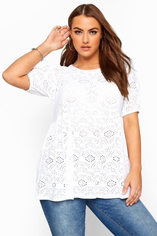 White Embroidered Puff Sleeve Smock Top