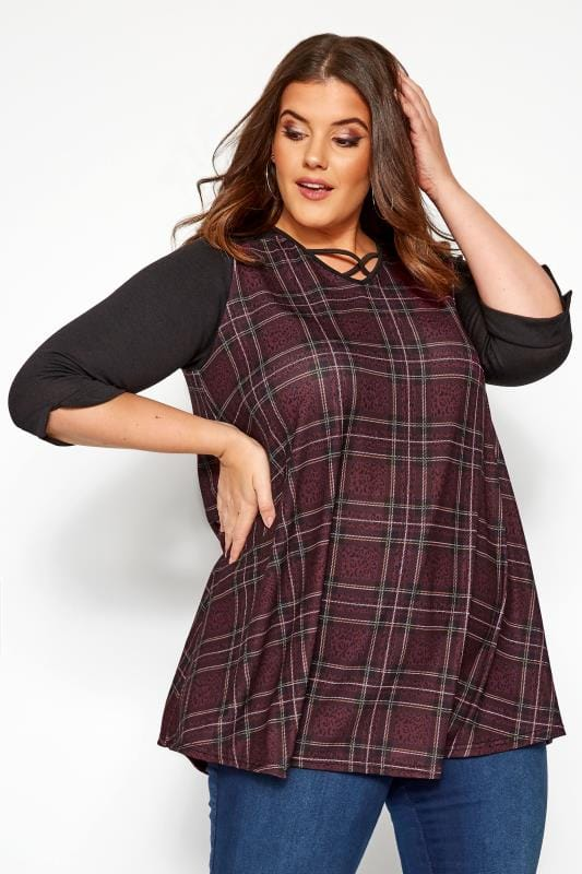 Plus Size Jersey Tops Burgundy Animal Check Print Swing Top