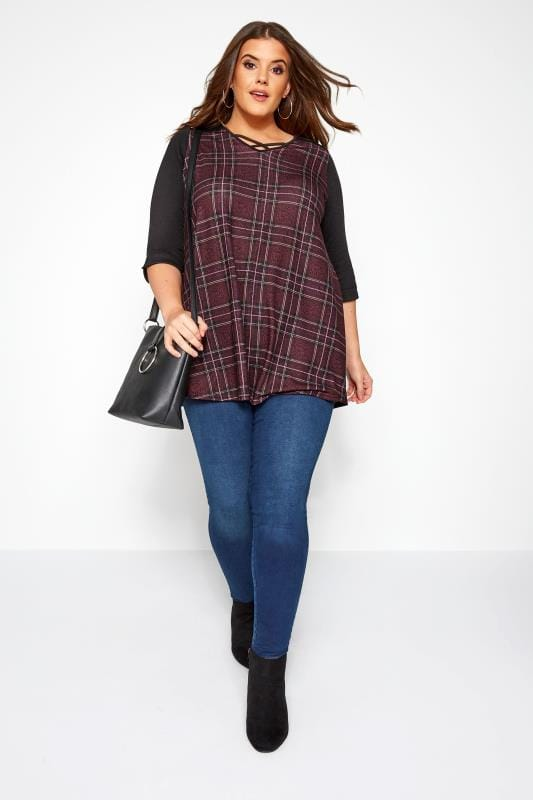 Burgundy Animal Check Print Swing Top