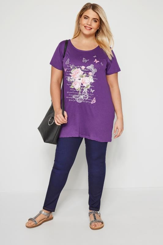 Purple Butterfly & Floral Sparkle T-Shirt With Lattice Back
