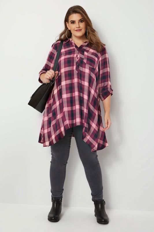 Purple Check Asymmetric Shirt