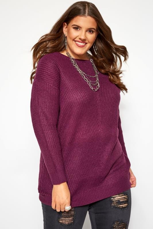 Plus Size Sweaters Purple Chunky Knitted Jumper
