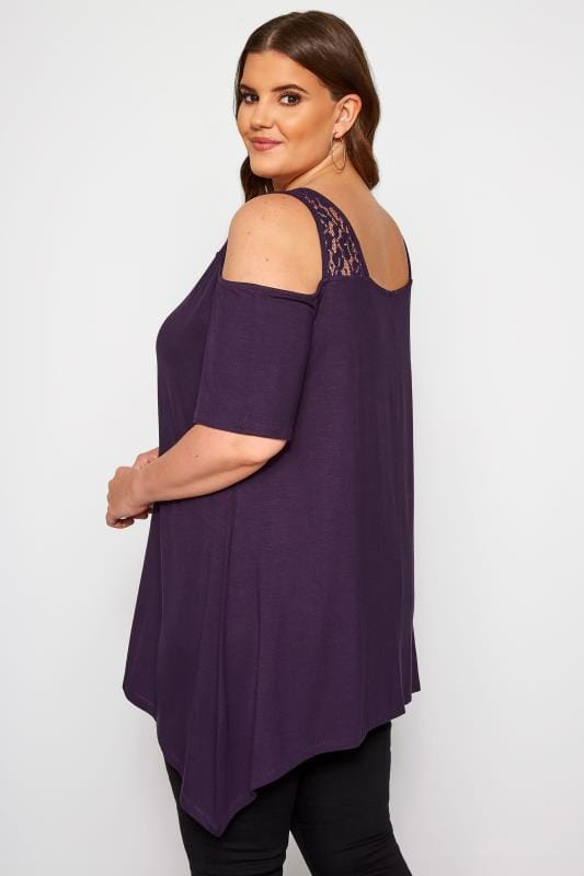 Purple Cold Shoulder Lace Butterfly Top
