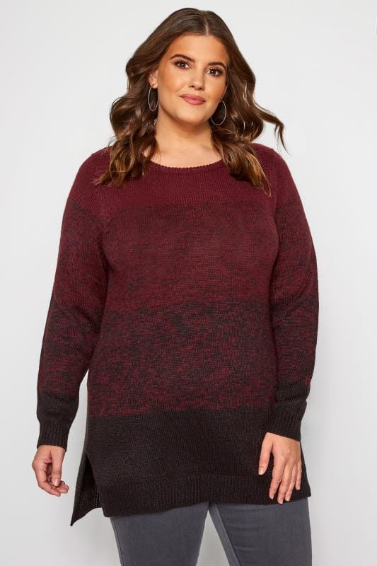 Plus Size Sweaters Burgundy Colour Block Knitted Jumper