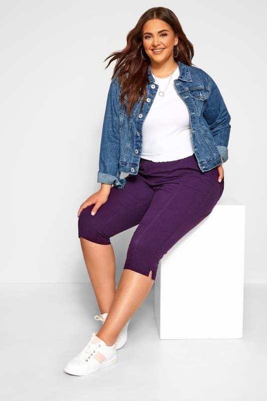 Plus Size Cropped Trousers Purple Cool Cotton Cropped Trousers