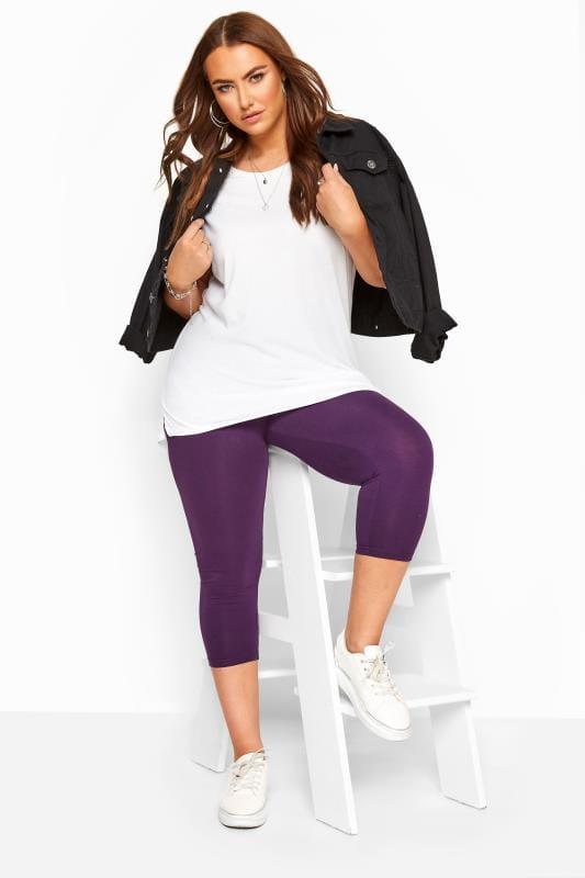 Plus Size Cropped & Short Leggings Purple Cropped Leggings