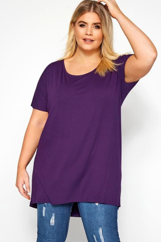 Plus Size Dipped Hem Tops Purple Dipped Hem Top
