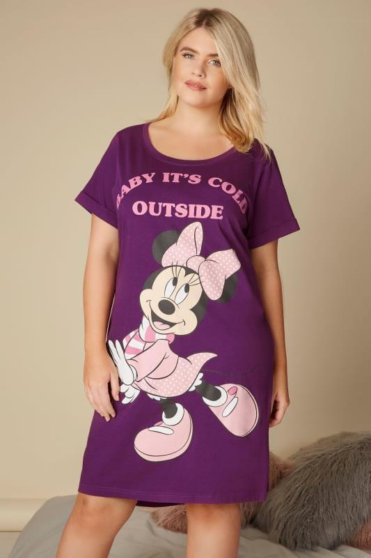 Plus Size Nighties Purple Disney Minnie Mouse Nightdress