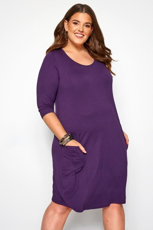 Plus Size Jersey Dresses Purple Drape Pocket Dress