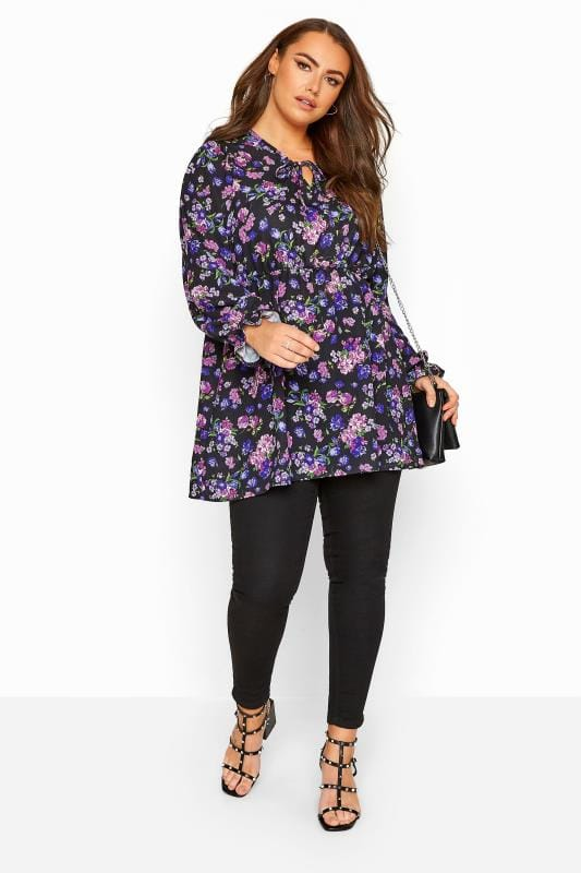 Purple Floral Frill Blouse