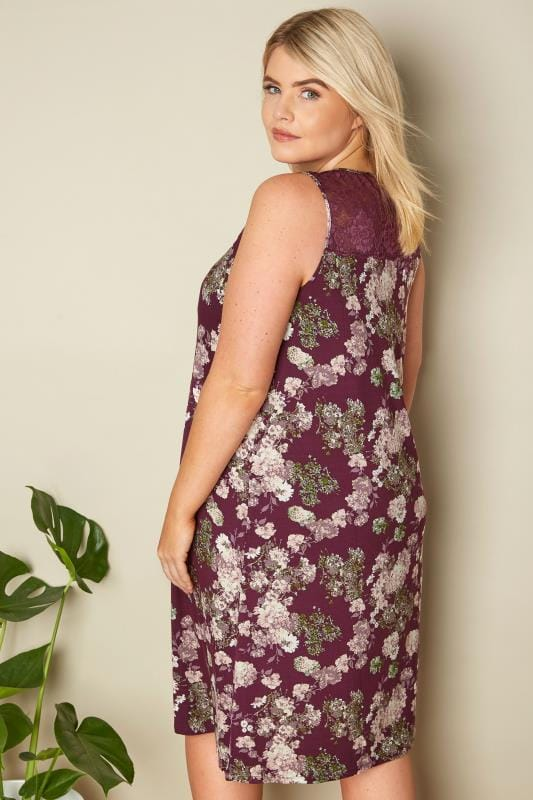Purple Floral Lace Loungewear Chemise