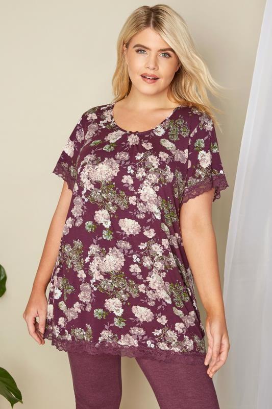 Plus Size Loungewear Purple Floral Lace Loungewear Top