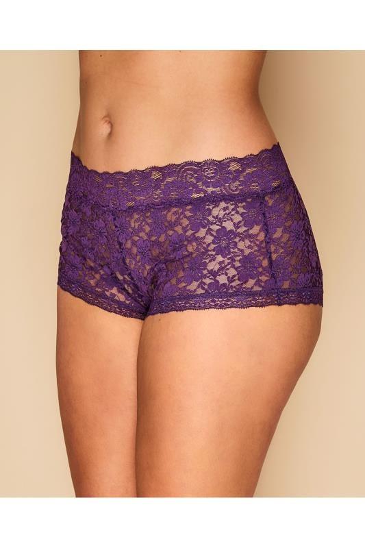 Purple Floral Lace Shorts