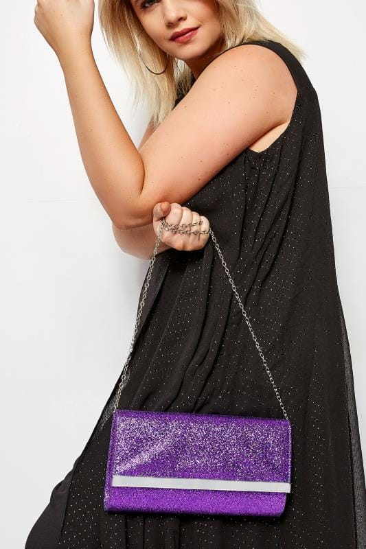 Bags & Purses Purple Glitter Fold Over Clutch Bag
