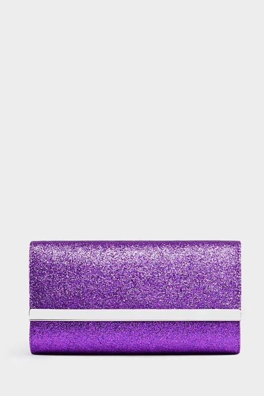 Purple Glitter Fold Over Clutch Bag