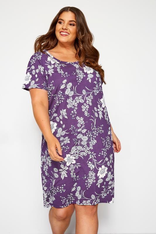 Nightdresses & Chemises  dla puszystych Purple Iris Floral Nightdress