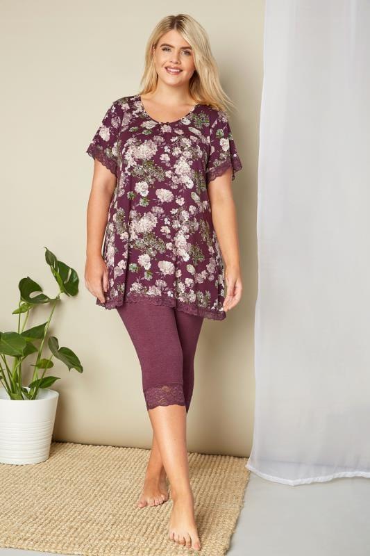 Purple Lace Cropped Loungewear Leggings